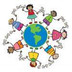 friends around the world - cartoon illustration