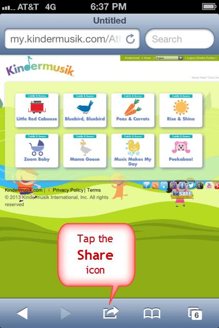 Create iPhone Shortcut for My.Kindermusik.com