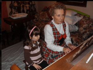 Grandmother playing piano