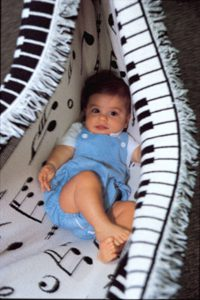 baby boy in hammock blanket