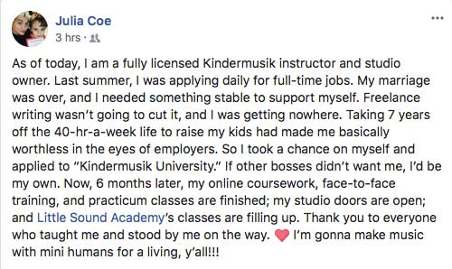 Kindermusik University - Children's Music Teacher Training Testimonial
