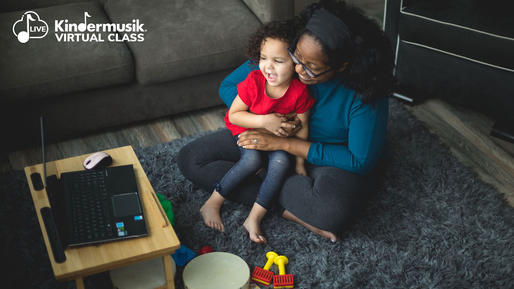 To capitalize on early developmental benefits through digital instruction, sign up for live virtual classes, like the ones Kindermusik offers!